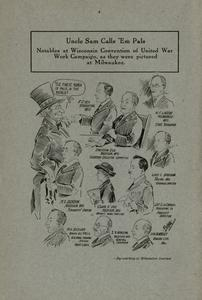 Page 36 - Uncle Sam calls 'em pals: notables at Wisconsin Convention of United War Work Campaign as they were pictured at Milwaukee