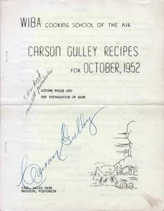 Carson Gulley recipes for October 1952