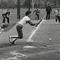 Softball player bunting