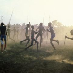 Nuer Boys and Young Men Dancing in the Dust