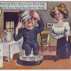 'When he has been out' postcard