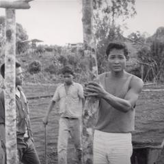 Laven trainees prepare to fence the IVS demonstration garden in Houei Kong in Attapu Province