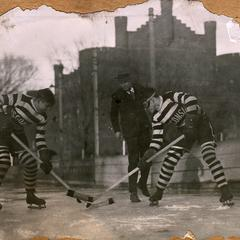 Hockey players on Library Mall