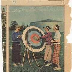 Wife Estella competing in state archery championship, color newspaper photo, September 1934
