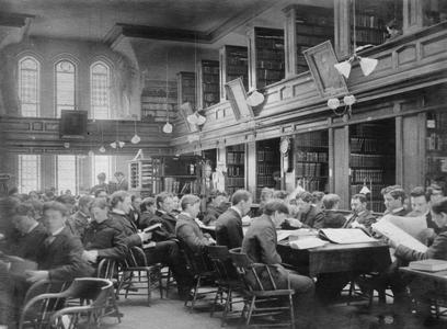 Students studying in University Library, 1898
