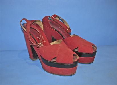 Deep red suede platform shoes