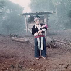 A White Hmong woman in a village in Houa Khong Province