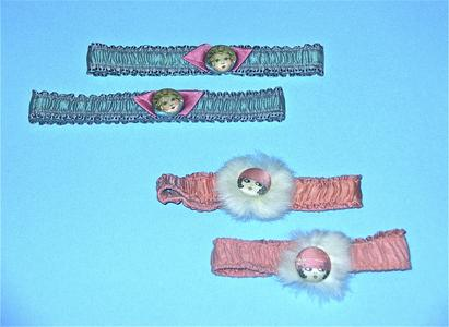 Pink and teal garters