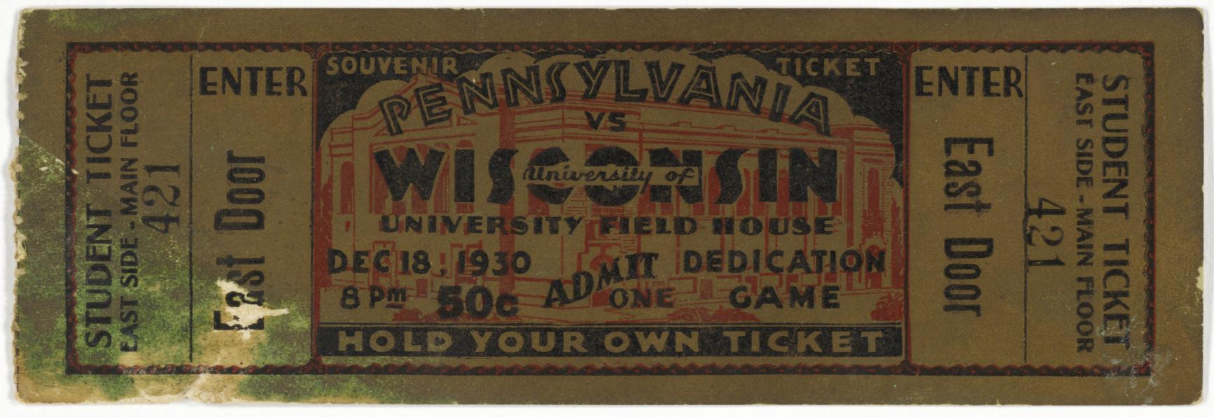 Student ticket, Field House dedicatory game (1 of 2)