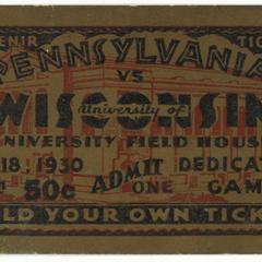 Student ticket, Field House dedicatory game