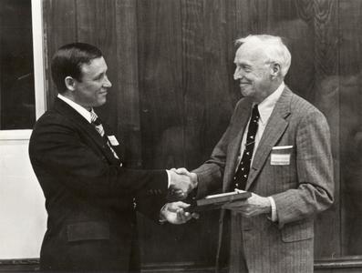 Jim Alexander and Joseph Hickey at the naming ceremony, University of Wisconsin--Marshfield/Wood County, 1974