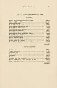 Page 41 - Librarian's cash account, 1918 - Twenty-eighth and twenty-ninth annual reports of the Minneapolis Public Library, 1917-1918 28th/29th [1919?]