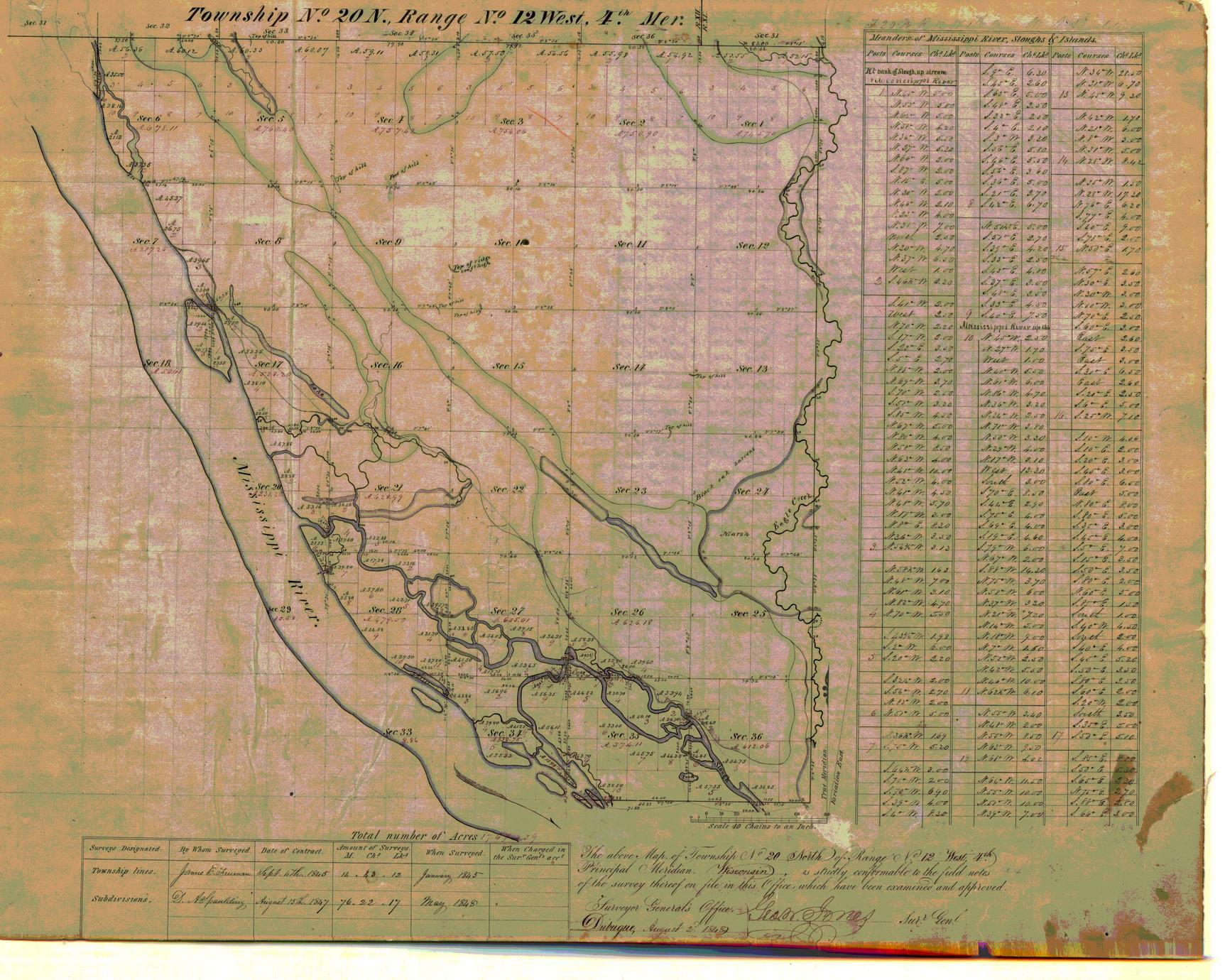 [Public Land Survey System map: Wisconsin Township 20 North, Range 12 West]