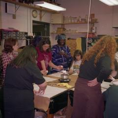Students working on fabrics