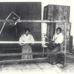 Women working on a loom, early 1900s
