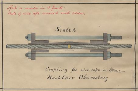 Coupling for wire rope in dome, Washburn Observatory