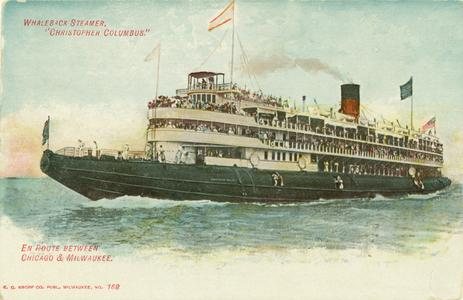 Whaleback steamer, Christopher Columbus, en route between Chicago and Milwaukee