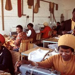 Women Sewing Cushion Covers in Factory in Tswana