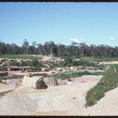 Ground views--settlement at dam