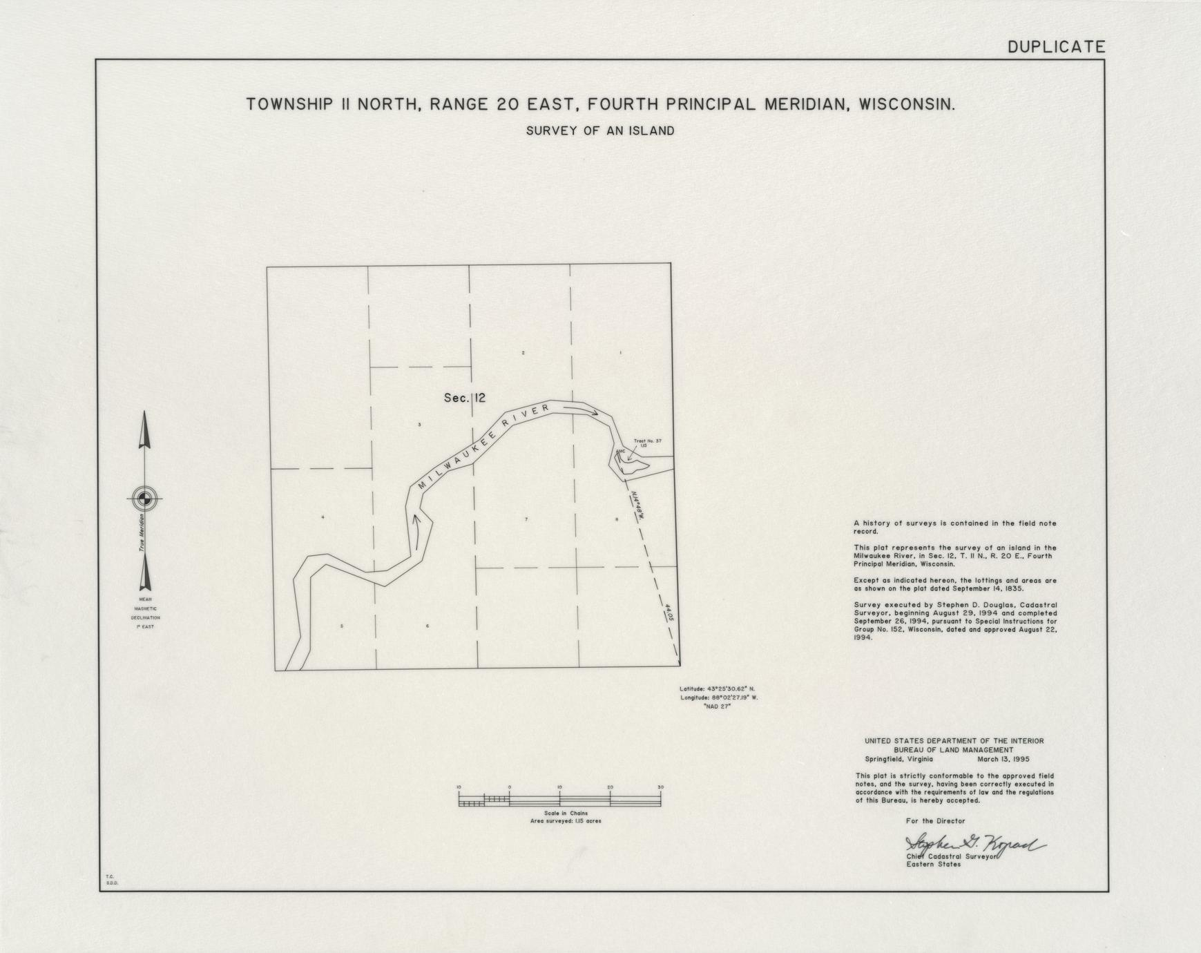 [Public Land Survey System map: Wisconsin Township 11 North, Range 20 East]