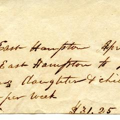 Bill from Julia Quaw to the Town of East Hampton, 1835
