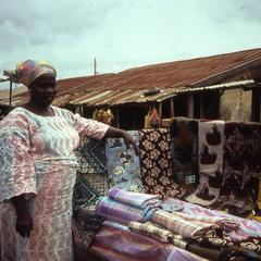 Nike's mother selling cloth at Ilesa market