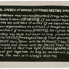 Actual speech at a woman suffrage meeting, suffrage postcard