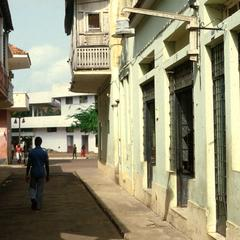 Narrow Street and Street Lamp in Urban Bissau