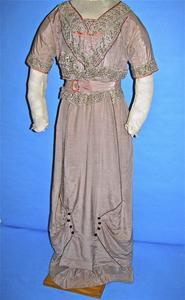 Gray silk one piece dress