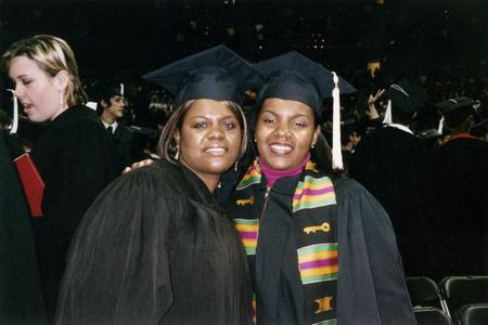Two students at 2005 graduation
