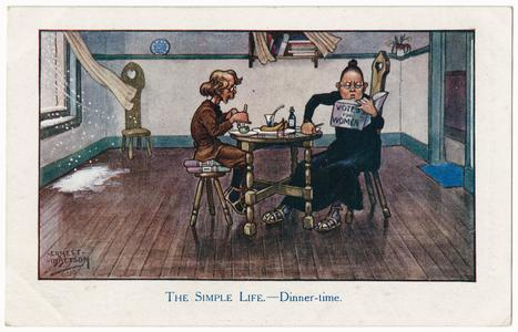 The simple life - dinner-time, suffrage postcard