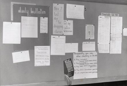 Daily bulletin board, Manitowoc, Fall 1969
