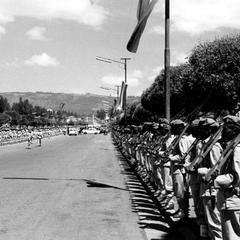 Soldiers along Parade Route during Anniversary of Emperor's Coronation
