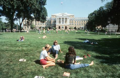 Students relax on Bascom Hill