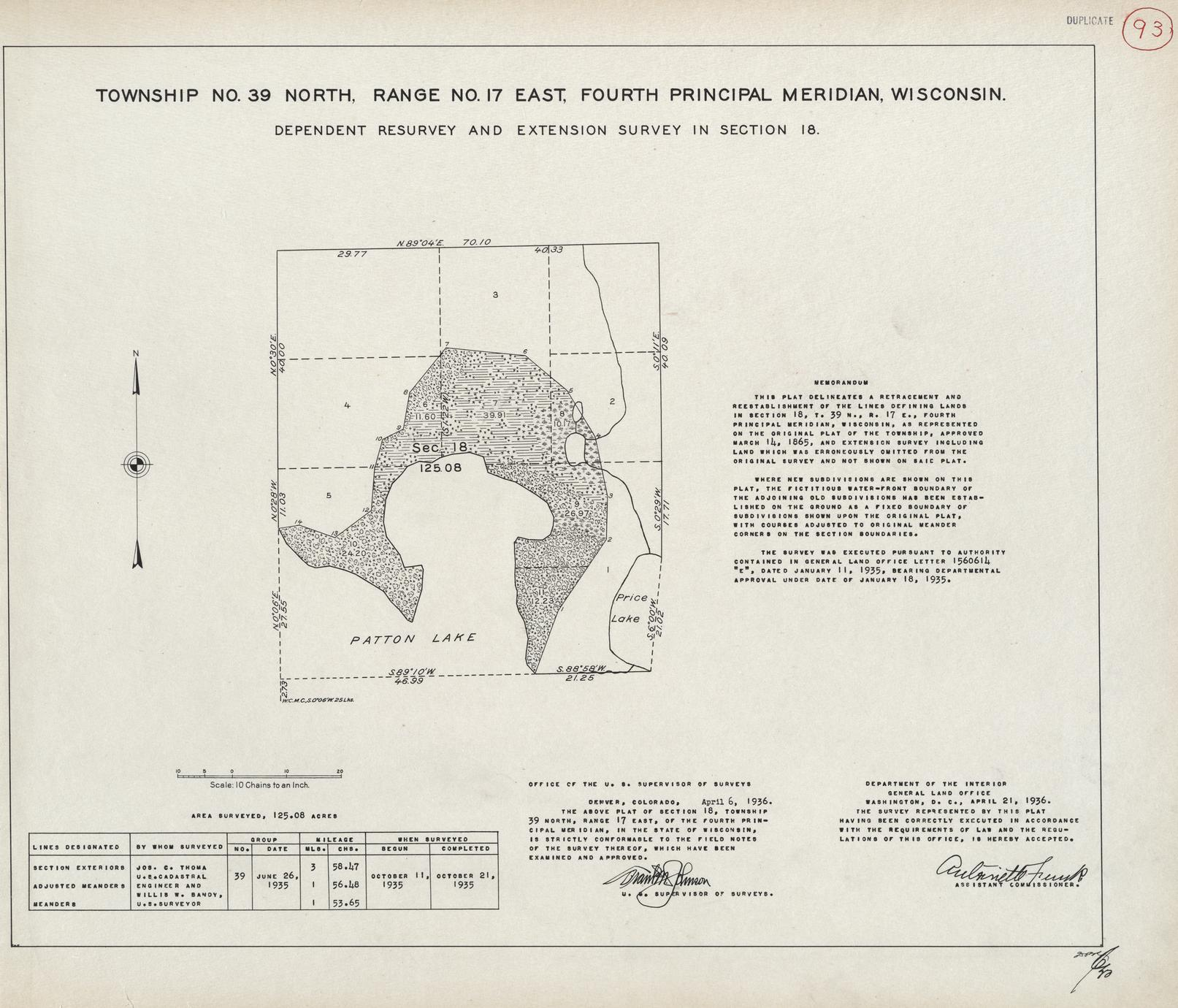 [Public Land Survey System map: Wisconsin Township 39 North, Range 17 East]