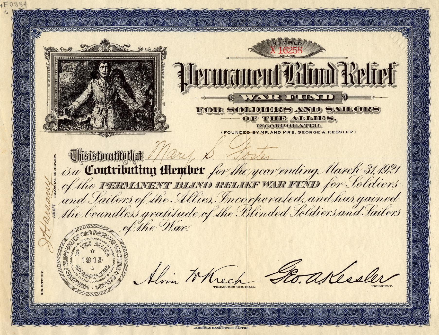 Certificate from the Permament Blind Relief War Fund for Soldiers and Sailors of the Allies