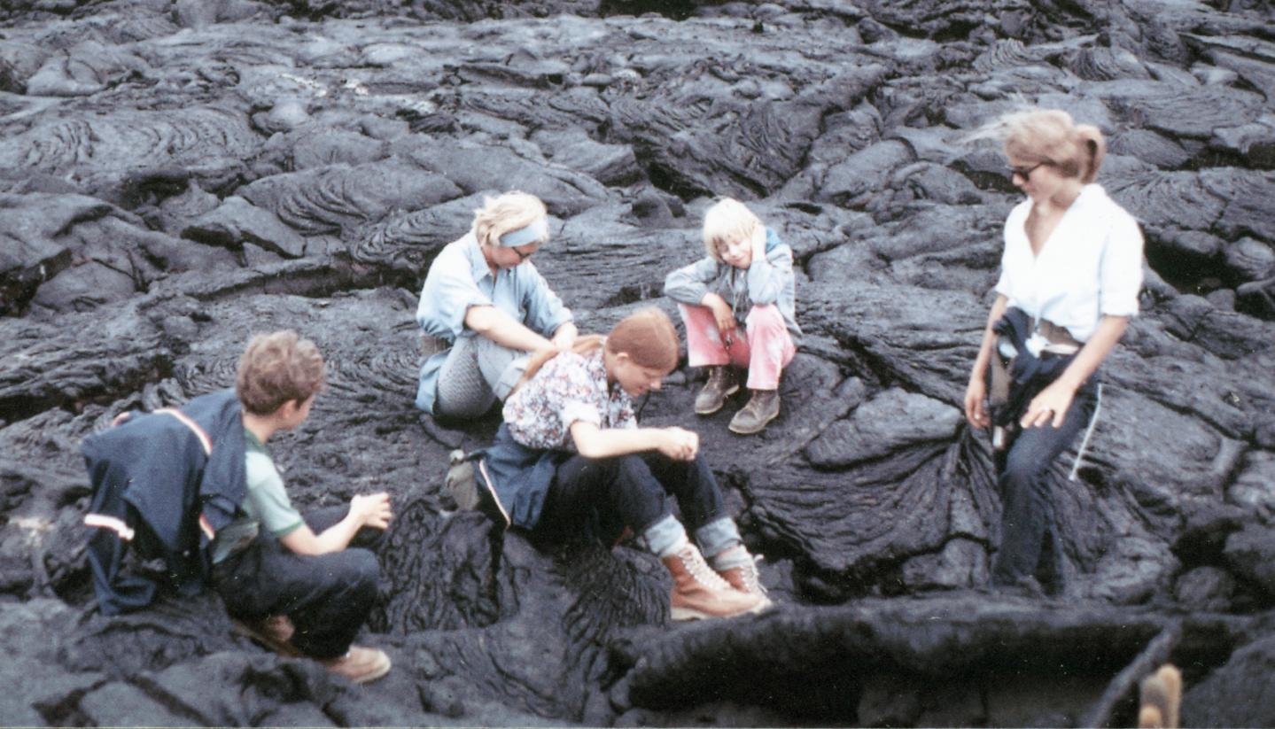 Mark S. Morache, Marge M. Iwen, Heather L. Bott, Paula Iwen-Landers, Elisabeth H. Owens (Field Assistants) on bed of lava