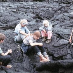 Mark S. Morache, Marge M. Iwen, Heather L. Bott, Paula Iwen-Landers, Elisabeth H. Owens (Field Assistants) on bed of lava